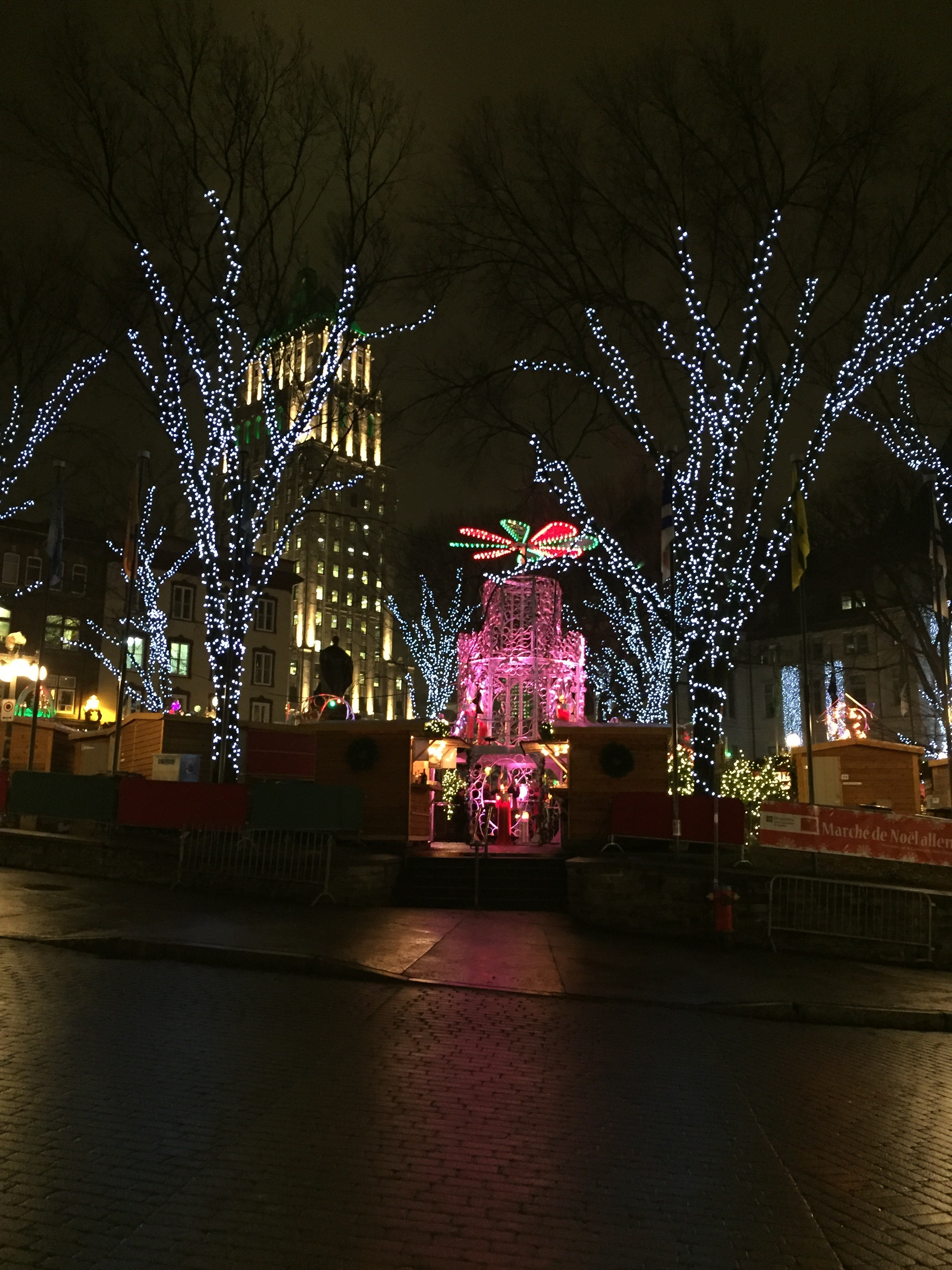 Quebec City German Christmas Market is resplendent with glittering lights, mulled wine and wood-burning fireplaces.