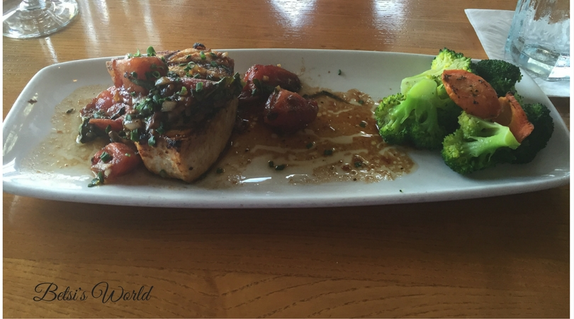 Charred Swordfish at the Sea Watch https://betsiworld.com//sand-meets-surf-…watch-restaurant/ ‎