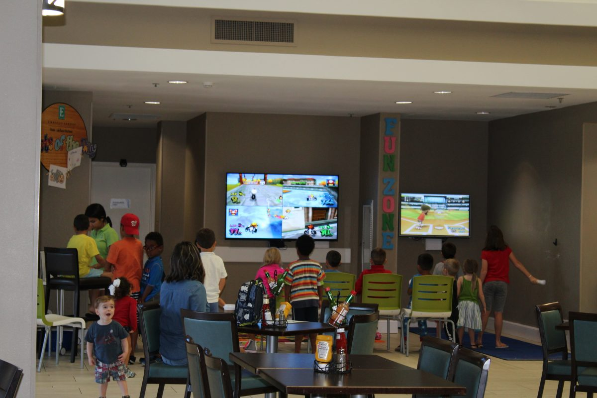 From Wii games to pizza to meeting new friends, the kids area at the Embassy Suites is fun