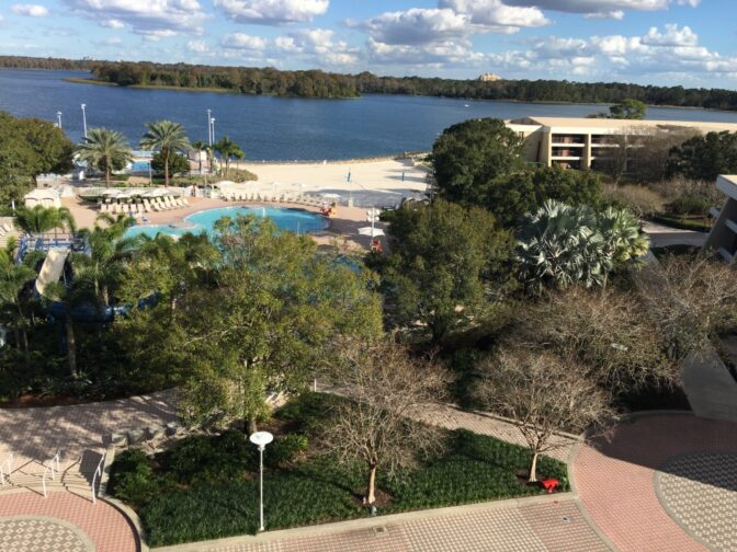 Sleek and modern rooms at Disney's Contemporary Resort have expansive views from the balcony.