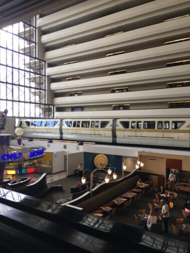 Overlooking the 4th floor of Disney's Contemporary Resort and restaurants Chef Mickey's and Contempo Cafe.