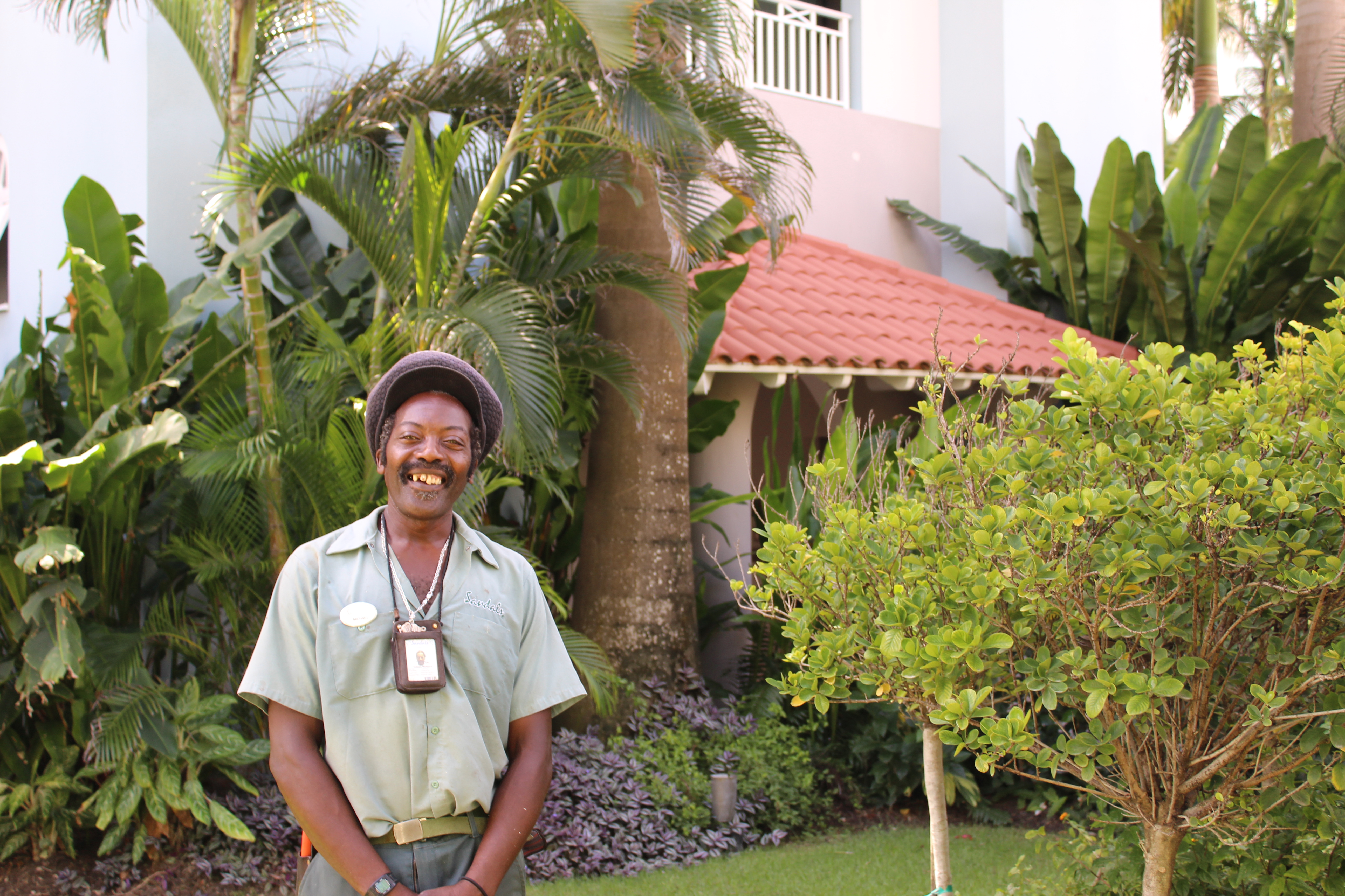 "Find Your Bliss at Sandals Barbados: We're greeted by a grinning, singing gardener as we step off the elevator, ""I love working outside mon. The plants are my passion,"" he shares."