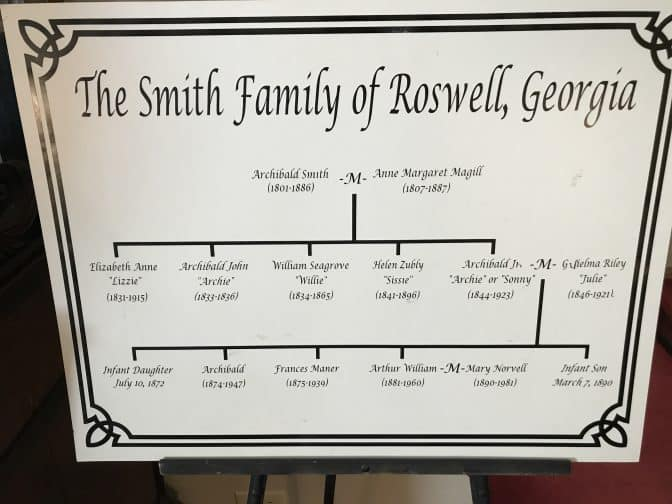 Three Day Getaway in Roswell, Georgia: The Smith Plantation Family Tree