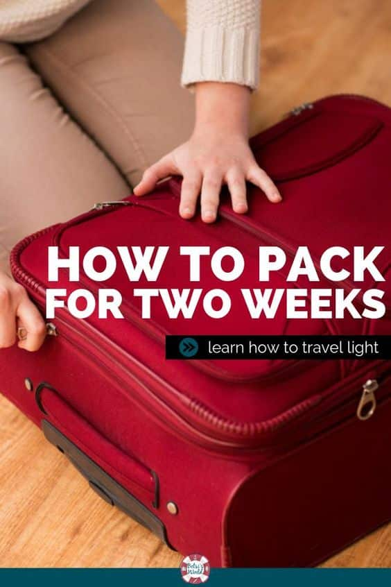 Learn how to efficiently pack for a 2-week vacation in just one suitcase! These tips will help you pack lite for traveling! #packinglight #packingforvacation