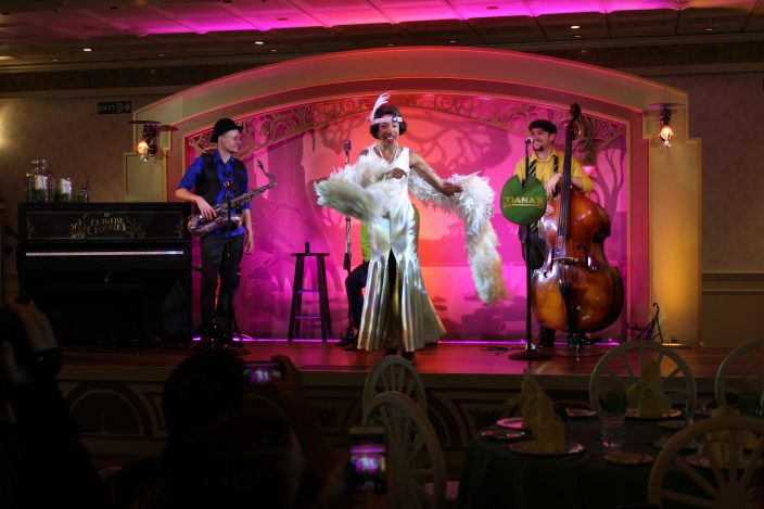 Tiana and musical ensemble croon jazz, swing and blues onboard the Disney Wonder