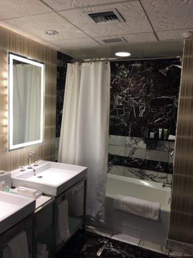 Modern bathroom with beautiful finishes at Disney's Contemporary Resort.