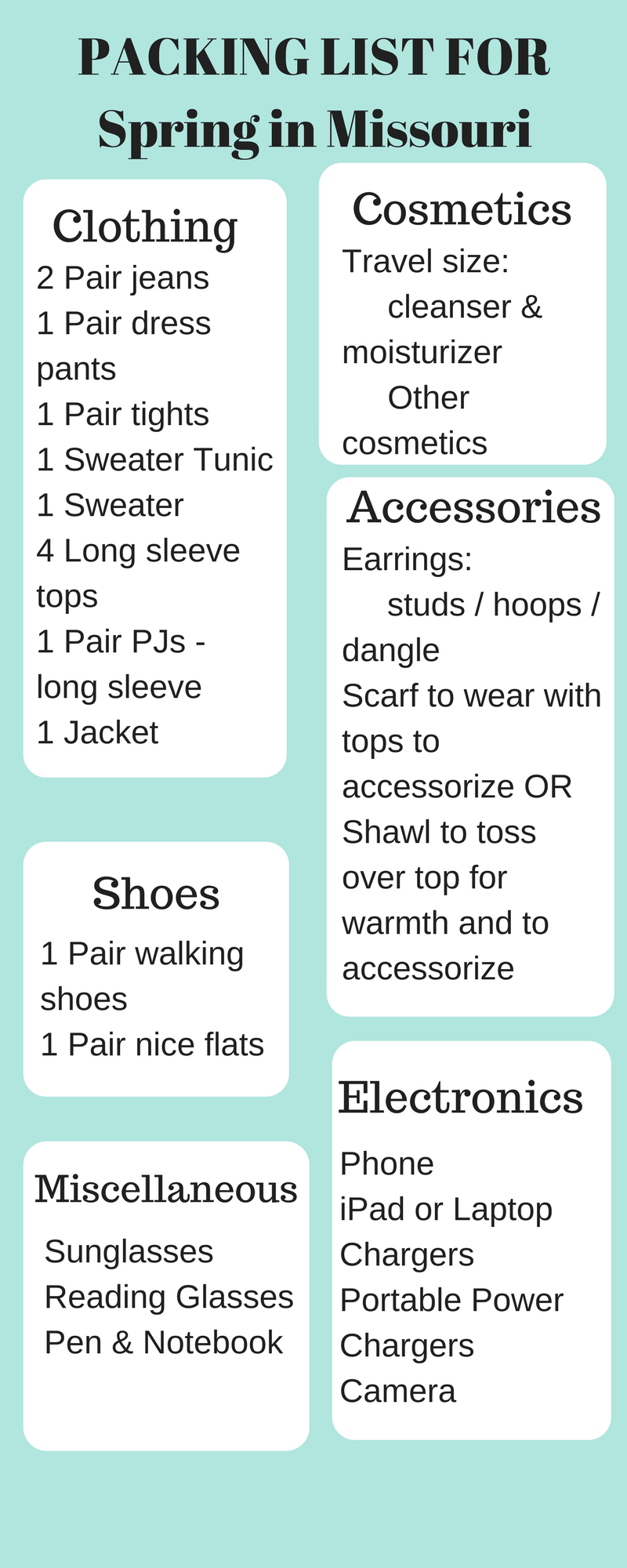 Packing List for Spring in Missouri