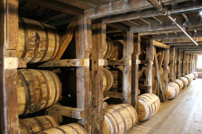 Willett Distillery, Bardstown, KY. Built with no foundation, when loading the barrels in the rick houses the men must be weight conscious.