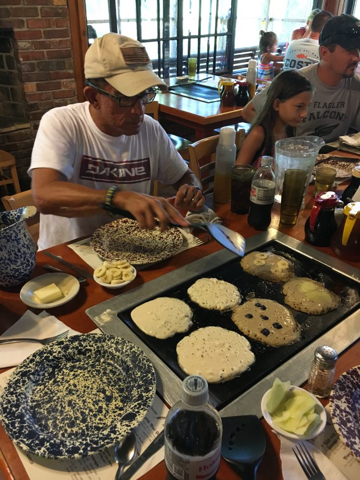 Three Day Escape to West Volusia,Florida. Experience Old Florida, New Vibe as you create your own pancakes and cook them at the Old Spanish Mill Restaurant. #OldFloridaNewVibe #VisitWestVolusiaFL #loveFL www. betsiworld.com