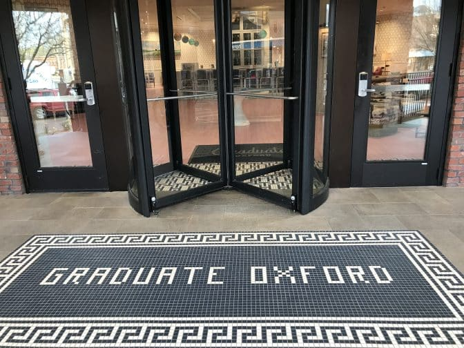 "Look carefully at the tiles in the front entrance? Do you see the ""Hotty Toddy"" reference?"