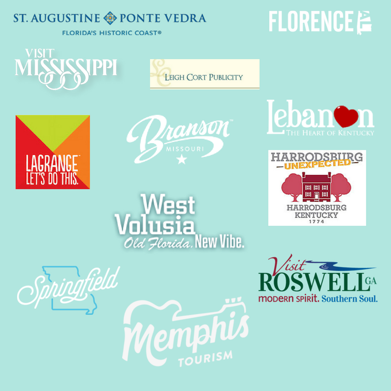 Betsi's World is pleased to have worked with these destinations, CVBs, and PR firms.