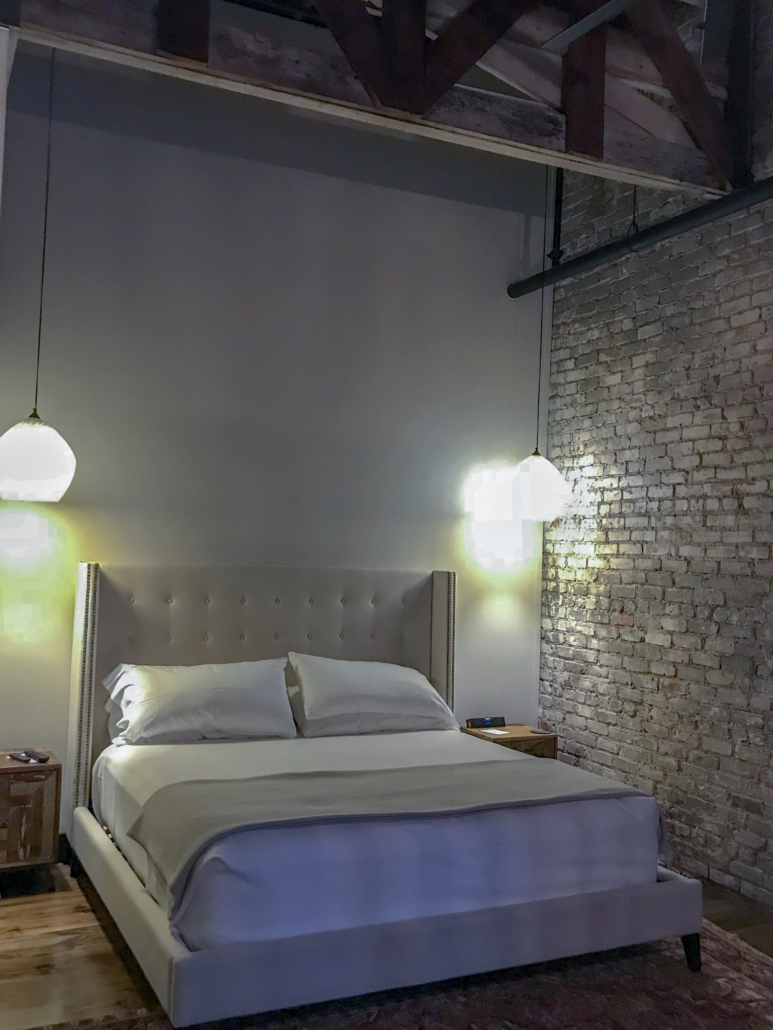 The Peacock Alley linens added a luxurious touch to all the suites at the Gunrunner! With the exposed brick and industrial touches, you wouldn't expect a luxury getaway, but the GunRunner delivers luxury, comfort and privacy - making your North Alabama getaway a dream!