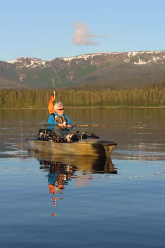 The author kayak fishing near Angoon.