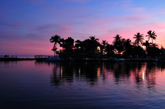 a waterview of islamorada, florida at sunset with palm trees. A romantic place to getaway for Valentines day