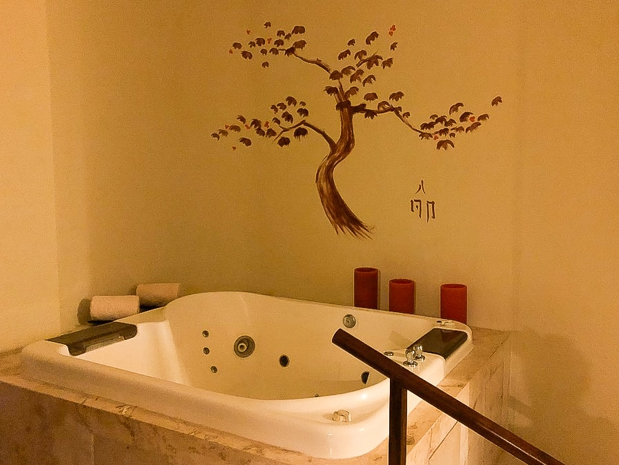 After the Mexican honey massage at Grand Velas Se Spa, you soak in the whirlpool tub before your final rub down.