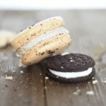 Oreo Macaroon & Oreo cooking on table with crumbs