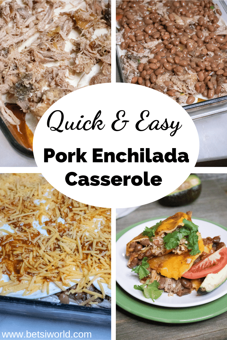 Pork Enchilada Casserole is a #quickandeasy dish for those nights when you don't want to spend time in the kitchen! This delicious dish is a breeze to make, and pair with a tart margarita, quick salad, salsa & chips, you have the ideal dinner that your family will love! #Mexican #quickrecipes #easydinner