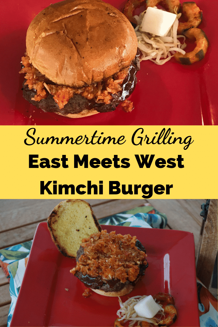 This is one of the best burgers! It's spicy, tangy and flavorful, and will quickly become one of your go-to #summertimegrilling favorites! | Craving some Asian flavor for your burger? This Kimchi Burger is glazed with a flavorful glaze, and then topped with a kimchi slaw this burger satisfies everyone, and no one will leave hungry! #foodie #bestburgers #kimchiburger #GirlCarnivore #Burgermonth #Cabotupyourburger #burgermonthwithwestern #bestburgers