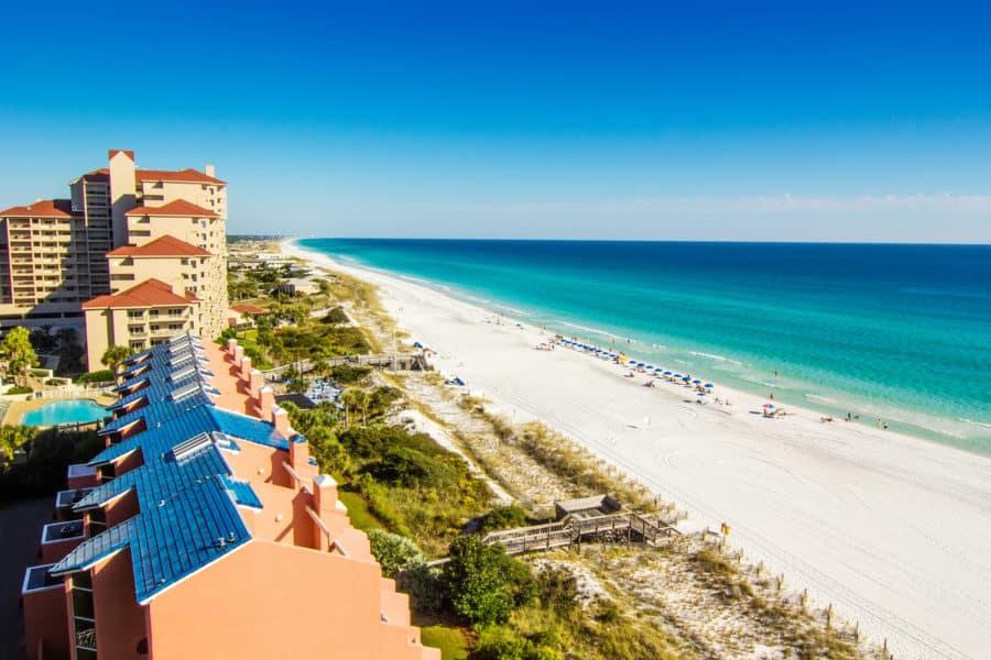 Scenic view of the coastline of Panama City Beach in Panama City, Florida, a great romantic beach getaway destination