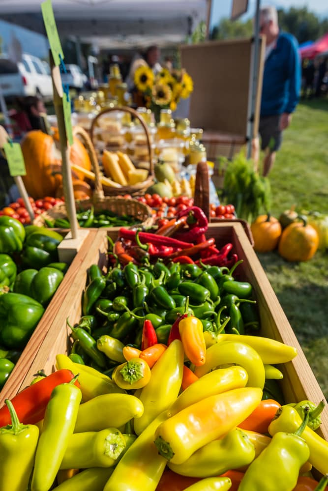 vertical image showing farmer's market produce.