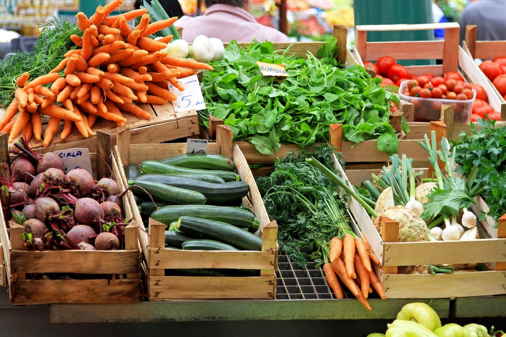 locally sources produce shown ready for sale.