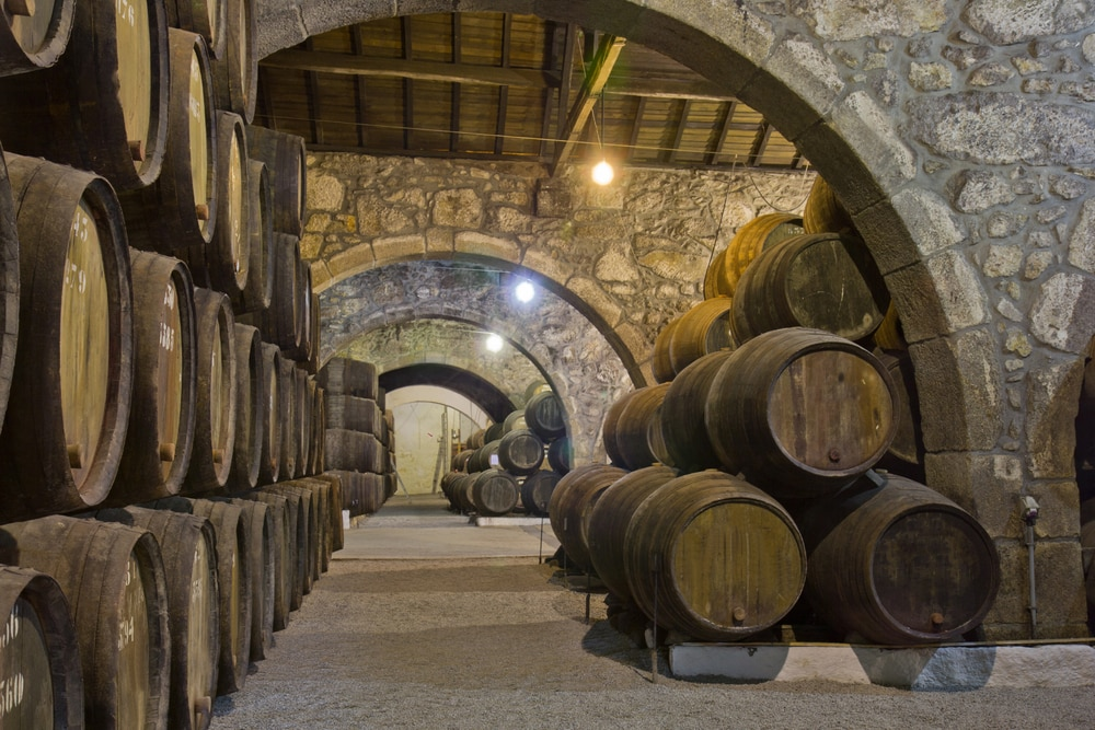 old cellar with rows of wooden wine barrels in a winery. A great place to visit for a romantic getaway