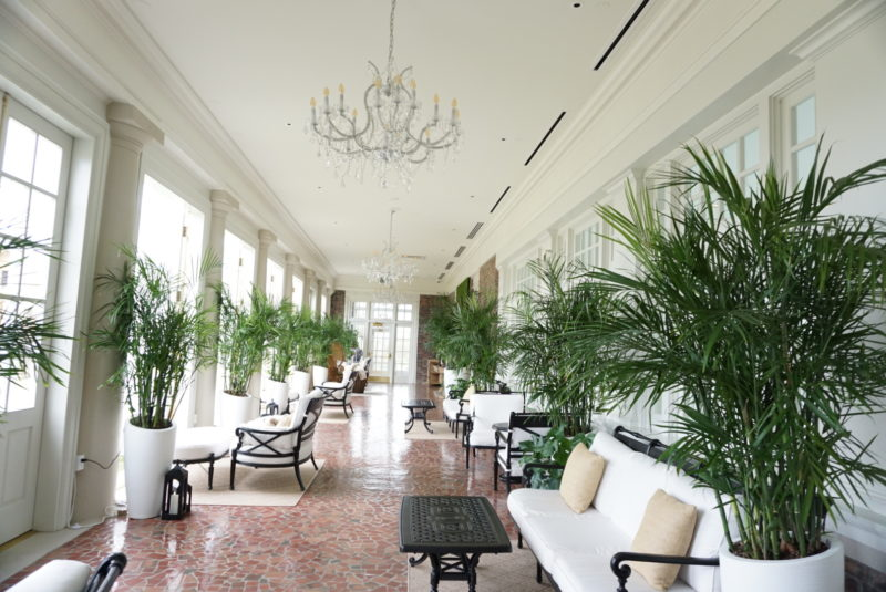 long hallway with white sofas and green ferns