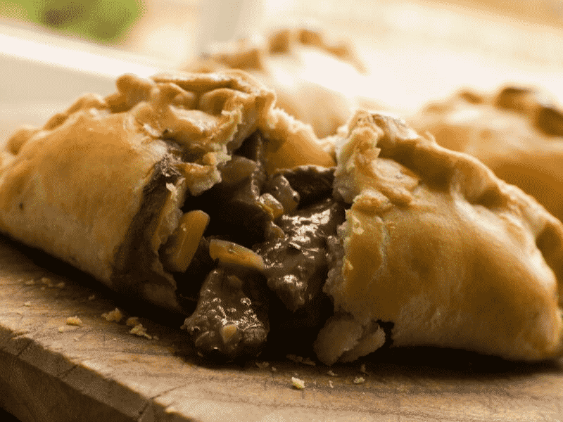Cornish pasty filled with meat, onion, and gravy