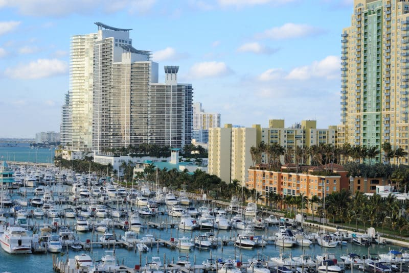 Skyline of the city of Miami, Florida with yachts and boats.