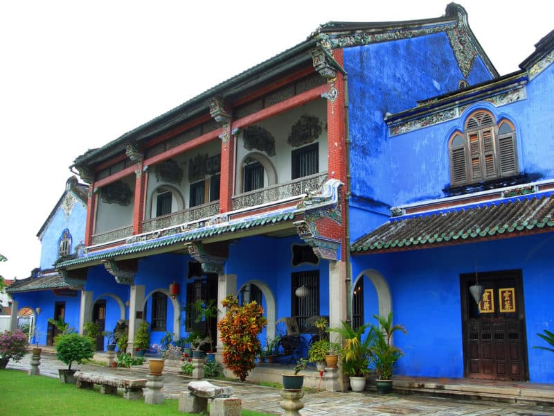 Chinese blue mansion with red accents