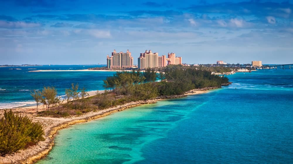 Scenic view of Paradise Island in Nassau, Bahamas for a Bahamas romantic getaway
