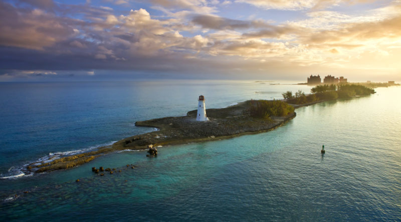 nassau, bahamas at dawn with lighthouse