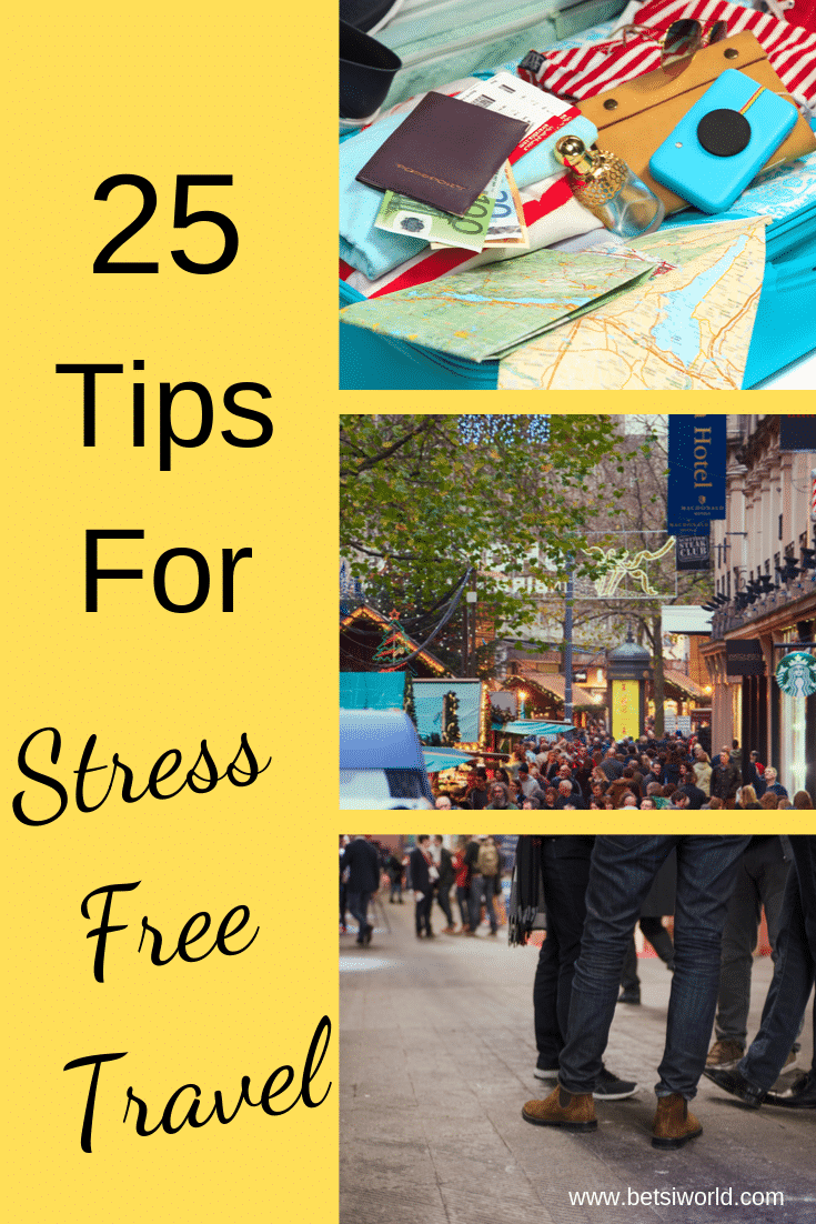 Whether you travel for business or pleasure, being away from home is difficult. These 25 tips for stress-free travel will help you reduce travel stress. As wonderful as travel is, traveling to your final destination can be stressful. Uncomfortable seating on the plane, unfamiliar smells, and food-all of these things interrupt our daily routines. These tips will help reduce travel stress. #themidlifeperspective #travel #reducetravelstress