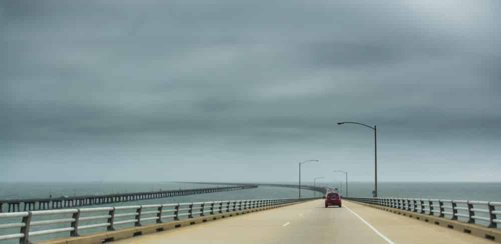 Chesapeak Bay Bridge Tunnel with grey skies