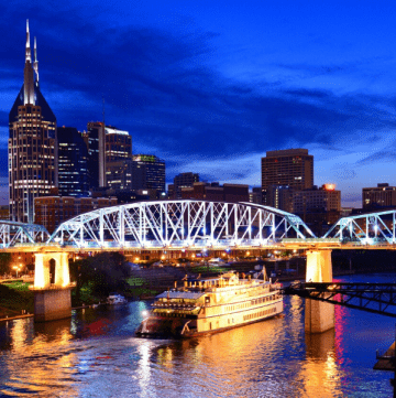 Nashville skyline with bridge