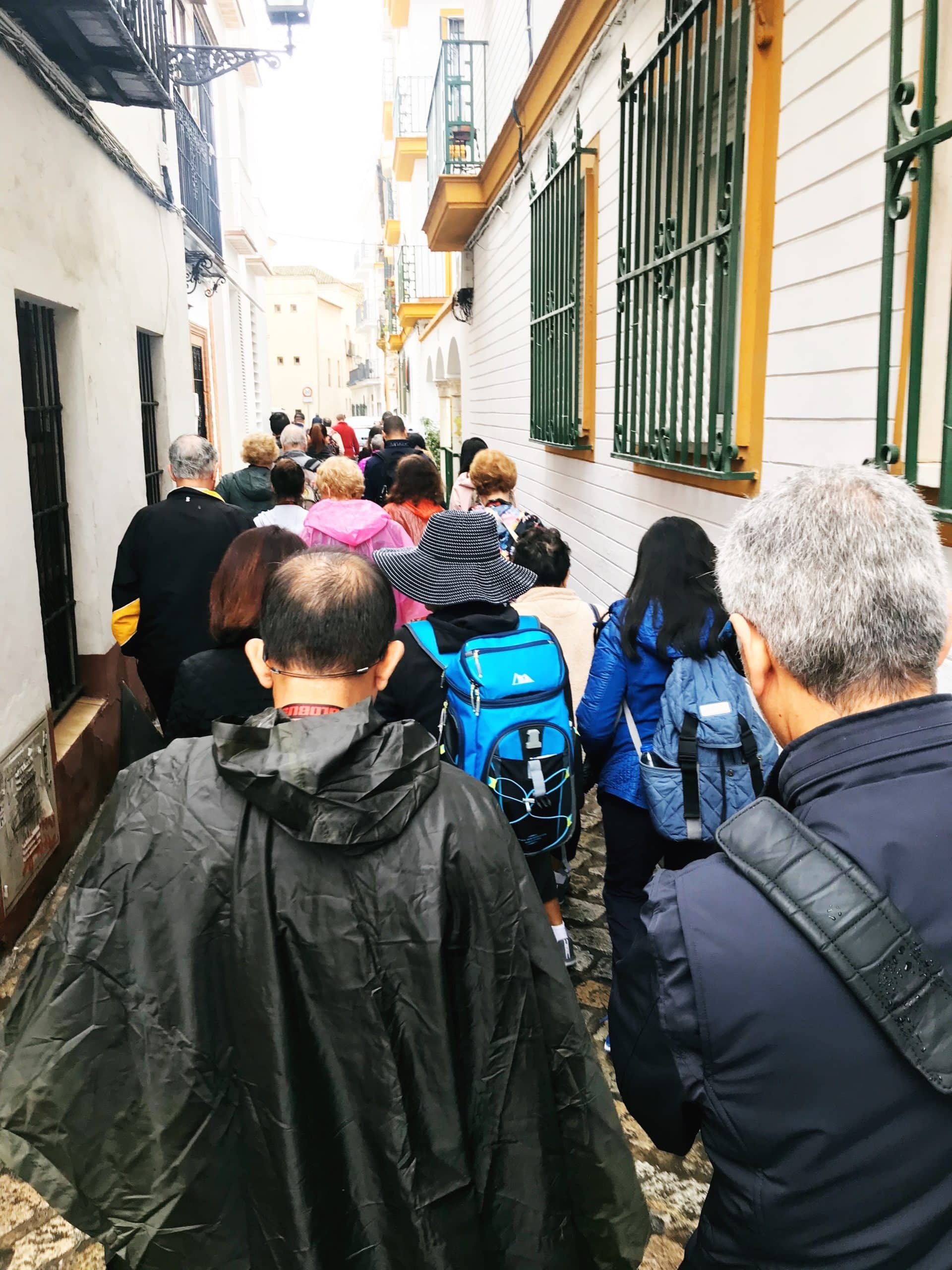 crowd of people on a narrow street