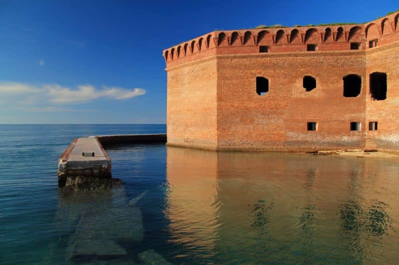 Fort Jefferson in the Dry Tortugas surrounded by water