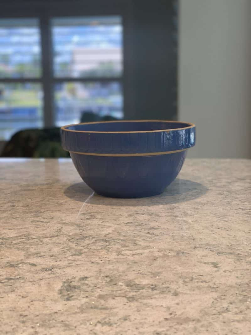blue bowl on counter