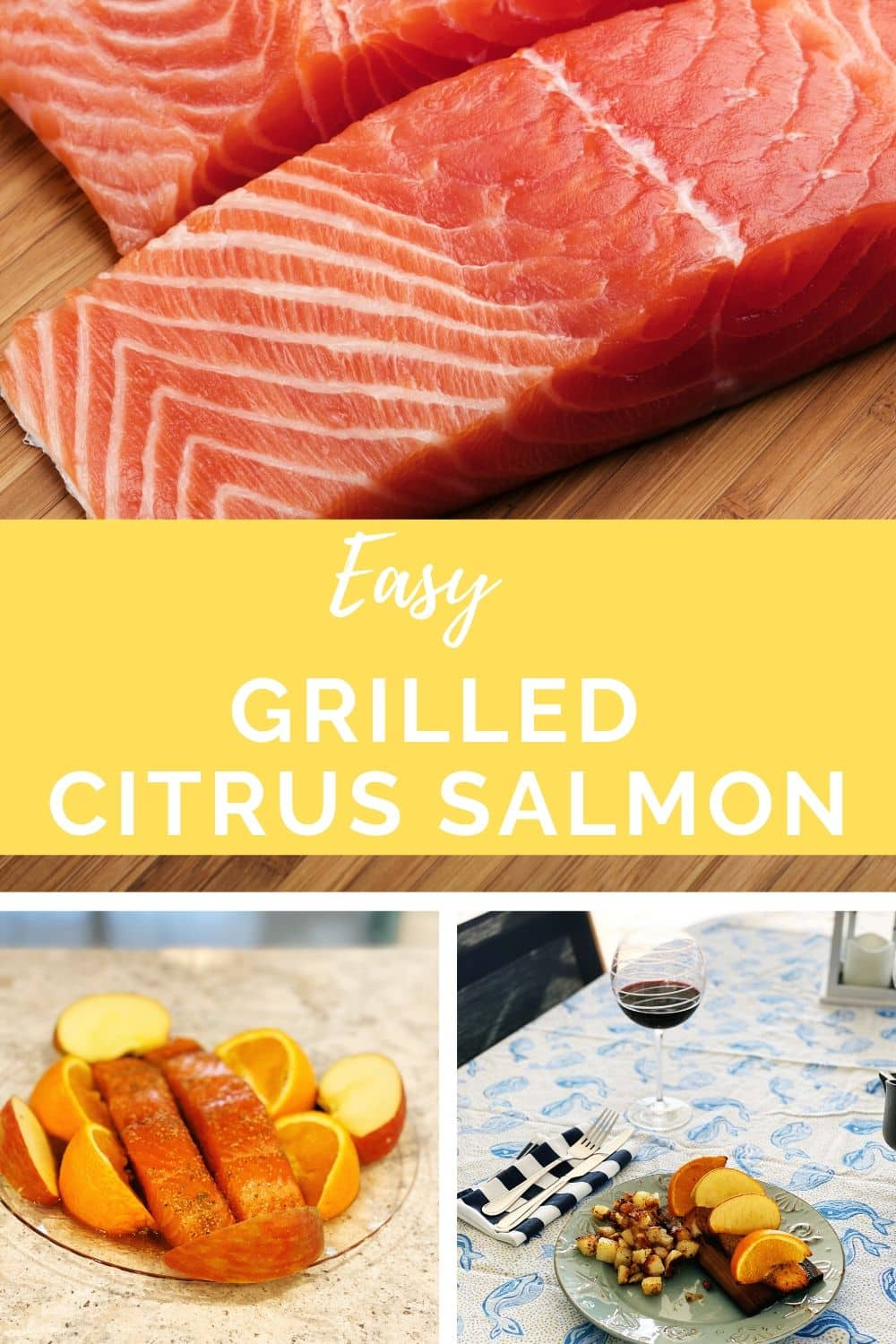 salmon fillets waiting to be grilled, citrus salmon grilled on table with print table cloth and glass of wine