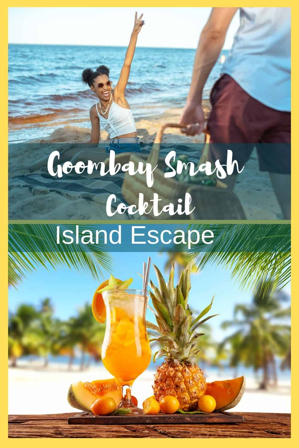 With a delightful tang coupled with coconut, you'll be transported to the islands of the #Caribbean without leaving home! The Goombay Smash is a perfect cocktail to welcome summer. Serve it ice cold for a refreshing drink for pool parties, outdoor BBQs, or sipping on the weekends. #cocktails #summercocktail #cocktailrecipes #goombaysmashcocktail #easyrecipes #summerdrinks