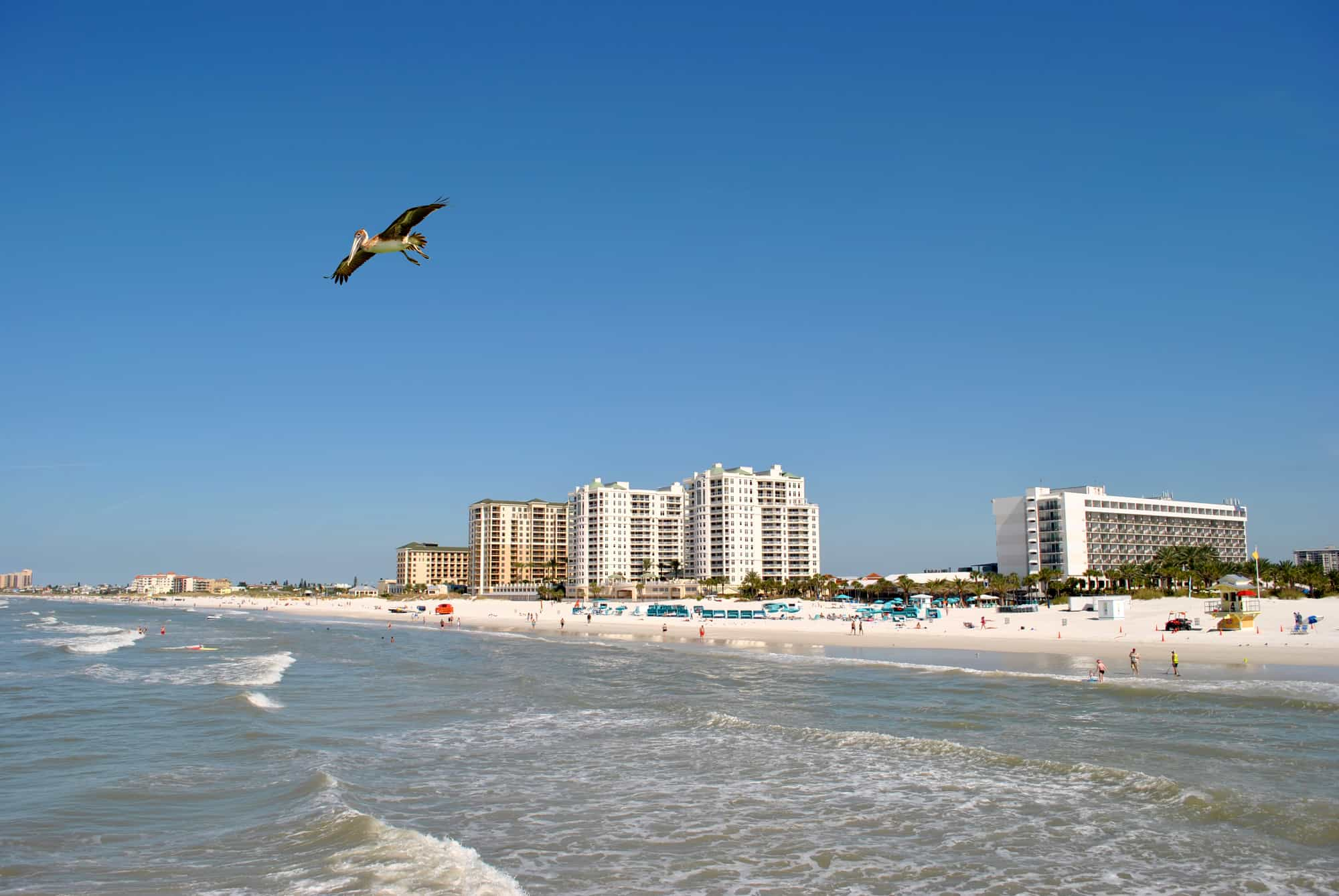 Beach, ocean, and hotels In Clearwater Beach, Florida