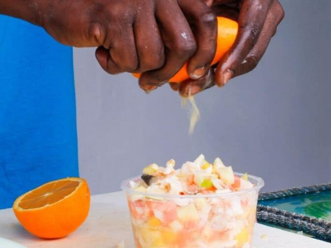 Conch salad is an island staple and a must-try on when you visit Turks and Caicos! Citrusy and tangy it is a delightful lunch or a side dish.