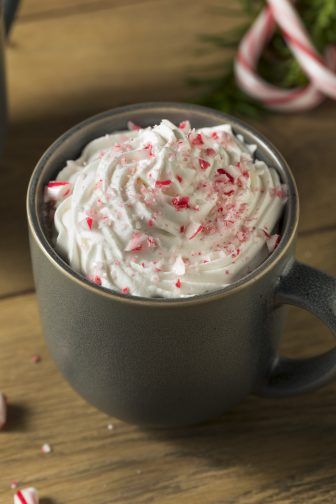 spiked hot chocolate candy cane topped final product