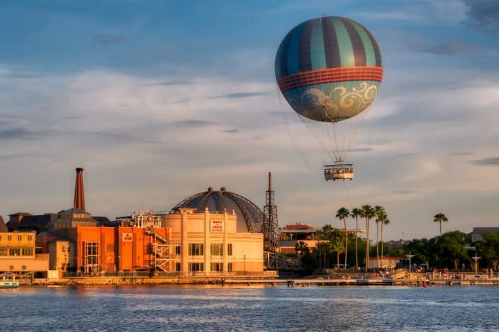 disney springs with a hot air balloon and the water a free thing to do in Orlando