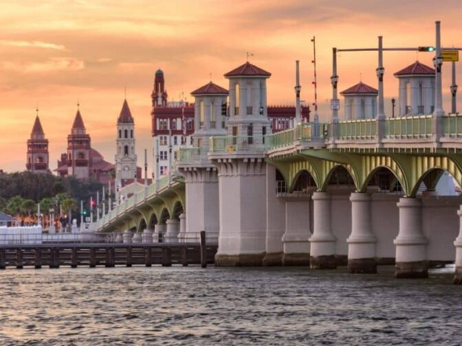 Bridge of Lions over the river at St. Augustine, is one of the destinations that we love for the best romantic Florida getaways