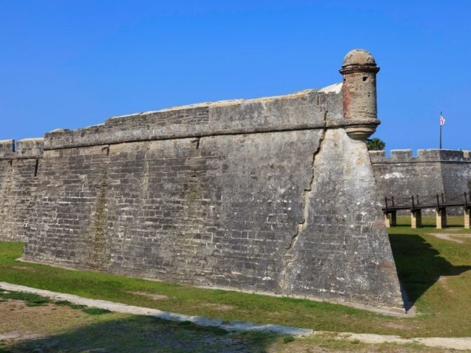 The walls of the Castillo de San Marco in St. Augustine, is one of the destinations that we love for the best romantic Florida getaways