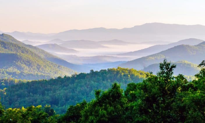 Appalachian Mountain range with sunset skies and greenery