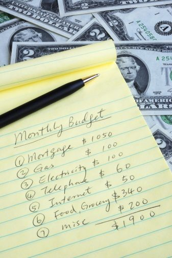 a list of of bills for the month on a lined notepad to make a budget for financial health
