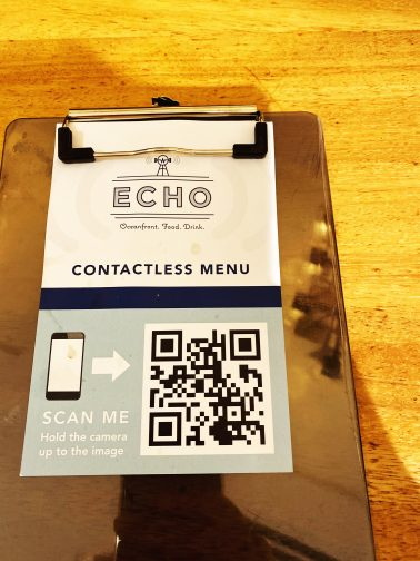touchless menu QCR code at ECHO