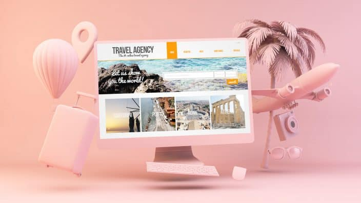 Minimal pink computer with travel agency on screen 3d rendering to use for finding vacation rentals